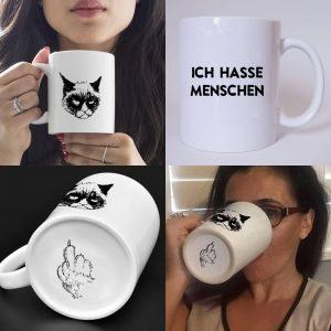 Katzen Tasse hasse Menschen